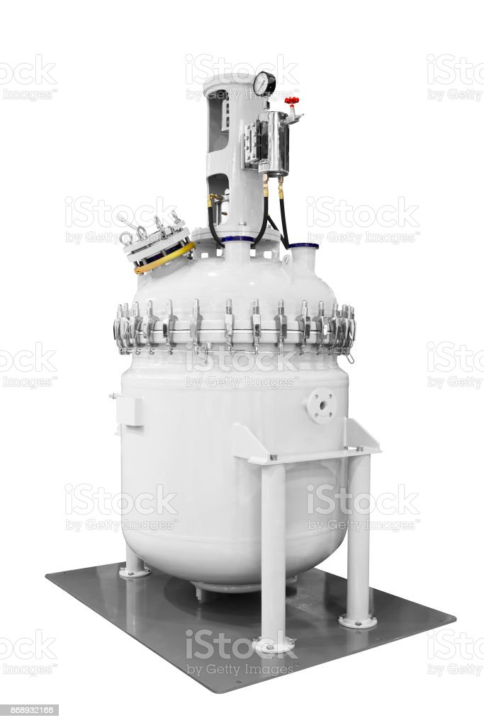 Large steel enameled vessel for chemical industry isolated on white background stock photo