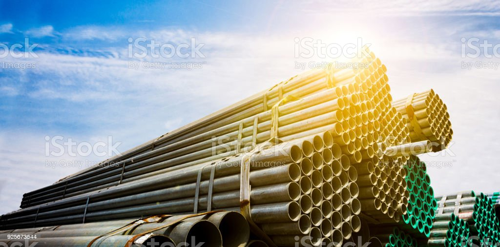 Large steel factory warehouse stock photo