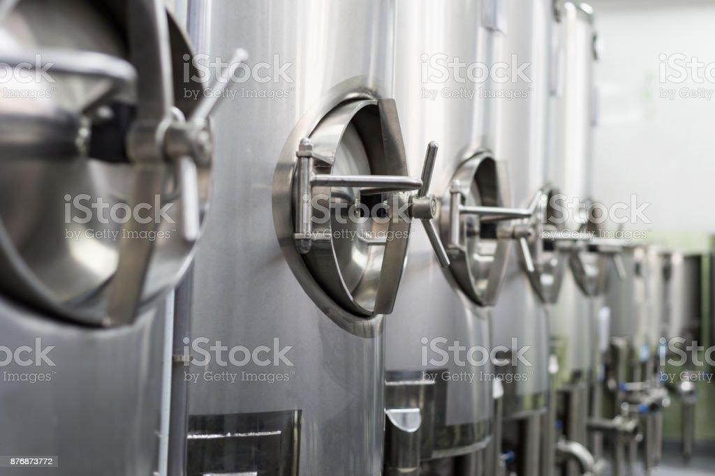Large steel tanks, Shop location stock photo