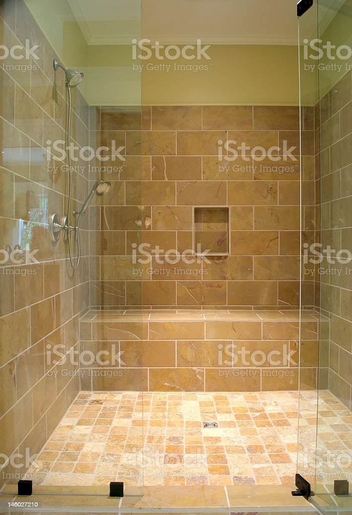 large stone and glass shower royalty-free stock photo