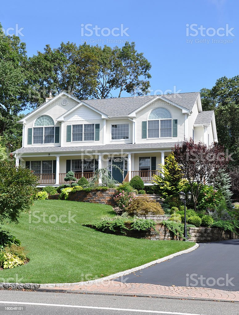 Large Suburban Home Front Yard Landscape stock photo