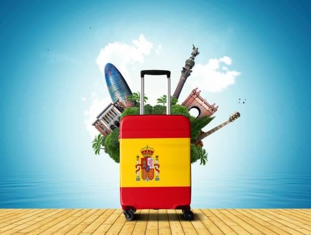 Großer Koffer mit spanischer Flagge – Foto
