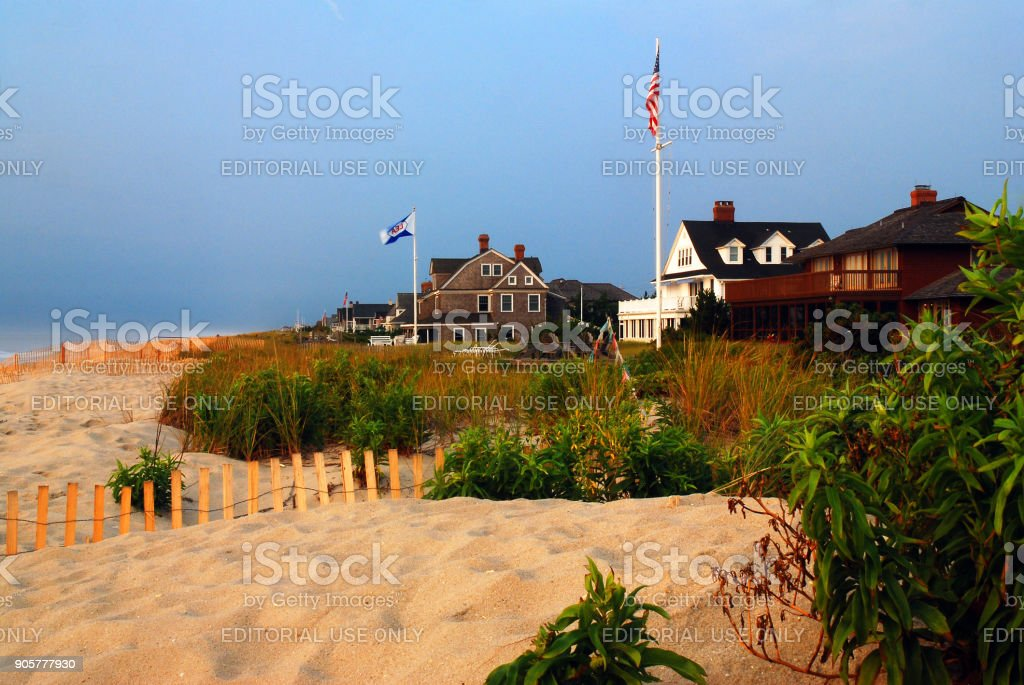 Large Summer Homes in Mantoloking on the New Jersey Shore stock photo