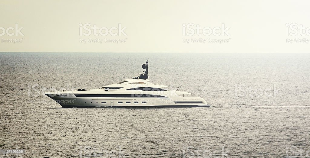 Large Super Yacht at sea stock photo
