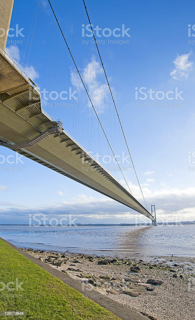 Large suspension bridge over a river stock photo