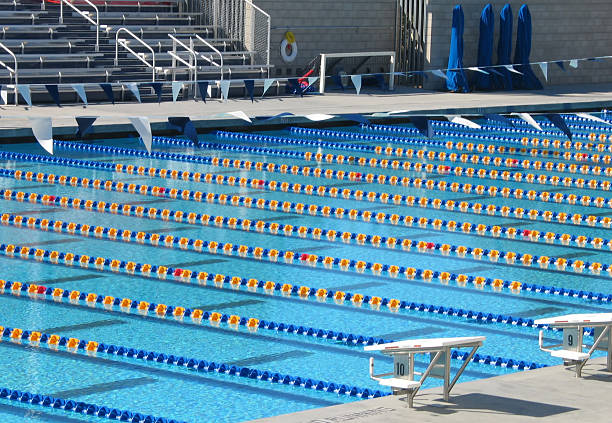 large swimming pool with multiple lanes stock photo