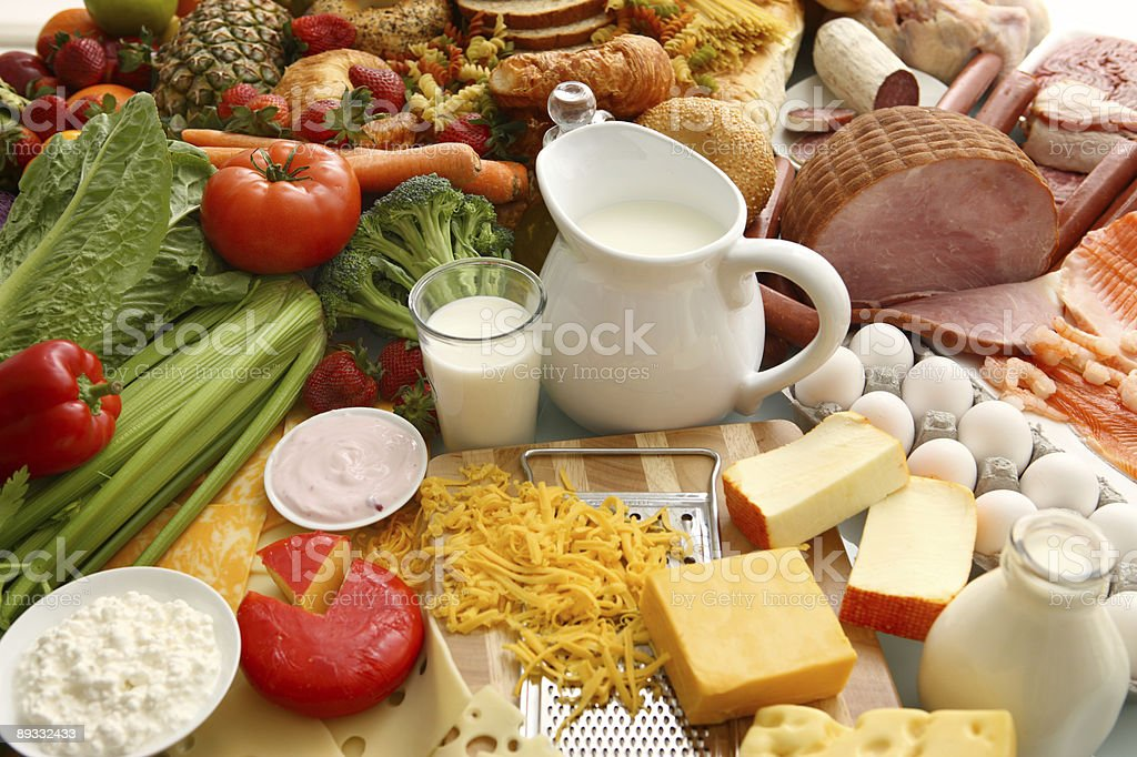 Large table full of every food group royalty-free stock photo