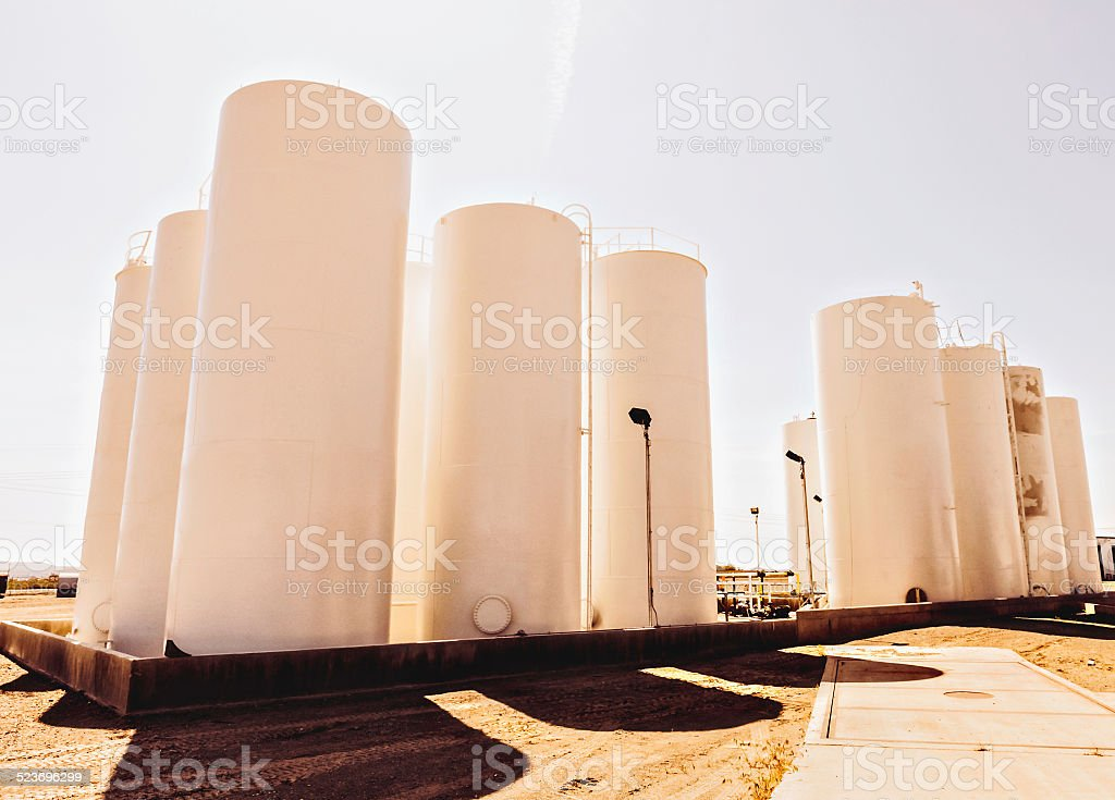 Large tall fuel storage tanks royalty-free stock photo