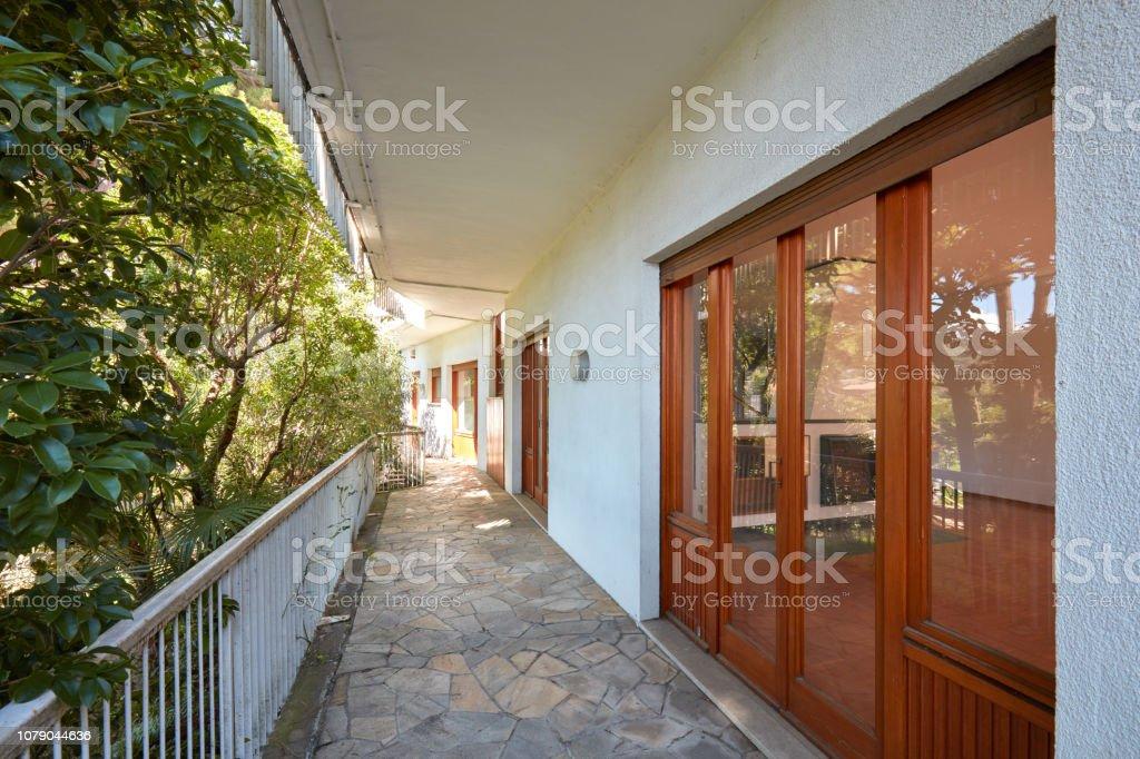 Gran Terraza Con Plantas Y El Interior De La Habitación En