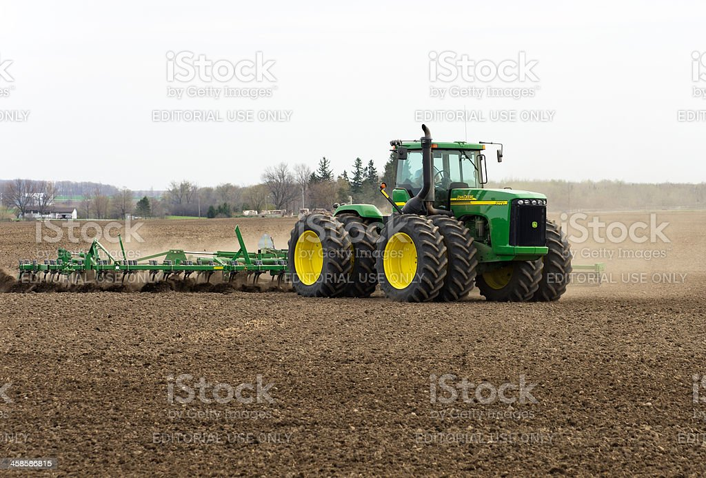Large Tractor in Spring stock photo