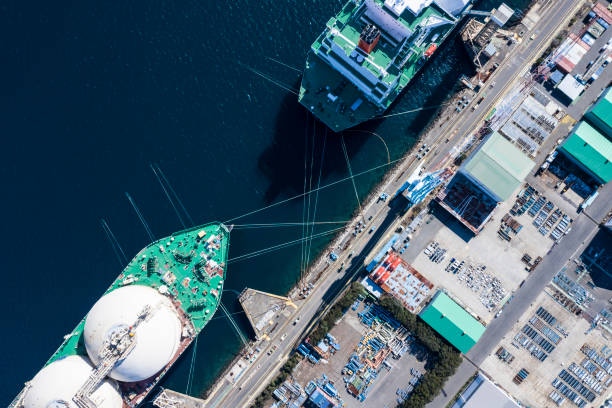Large transport ship and view of the harbor stock photo