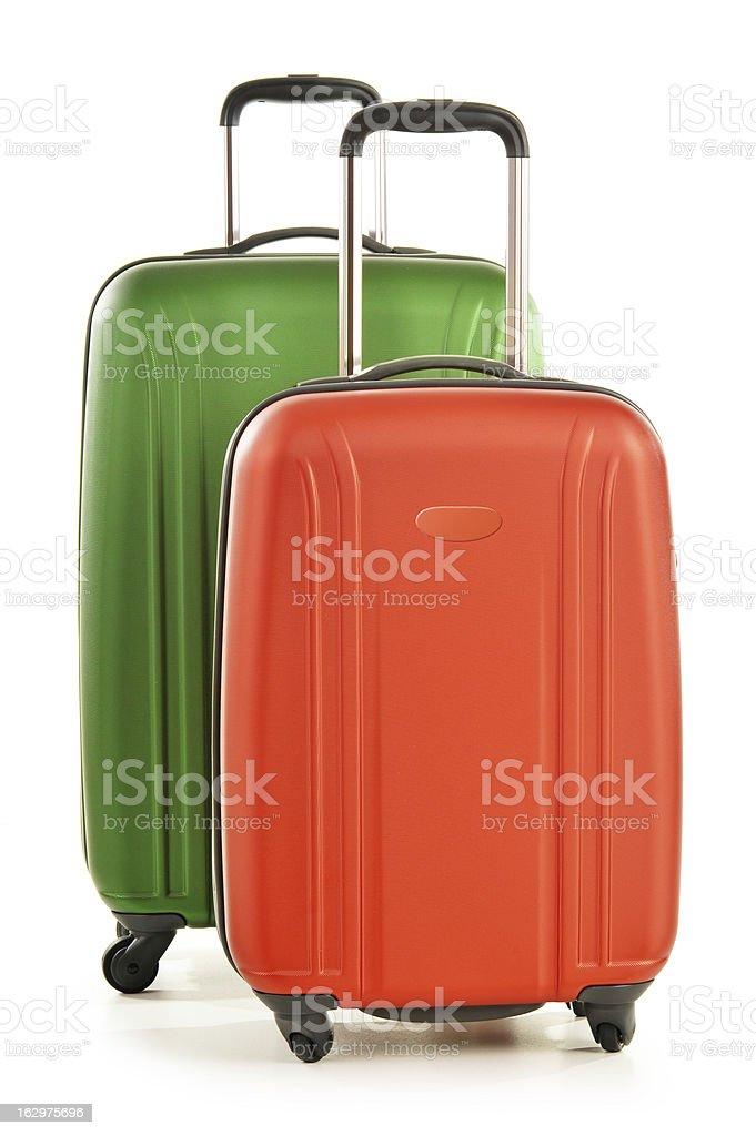 Large travel suitcases isolated on white stock photo