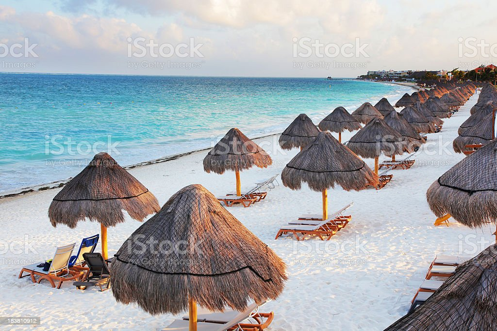 Large Tropical Beach with Palapas stock photo