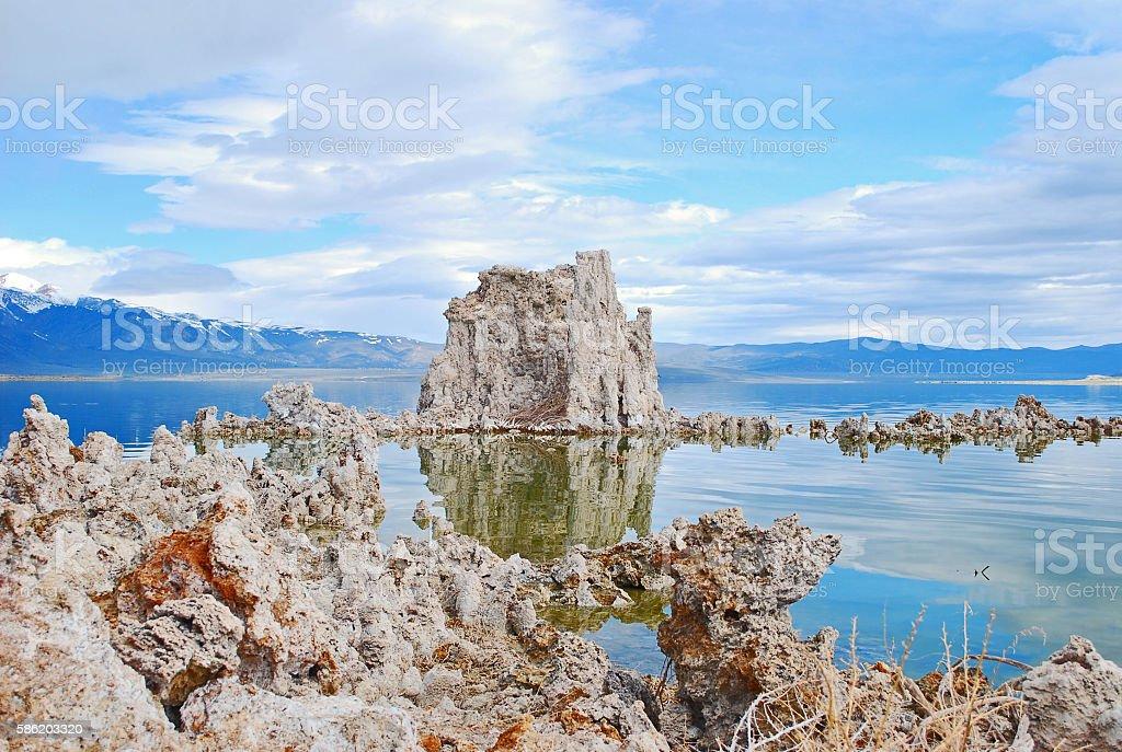 Large Tufa on Mono Lake stock photo