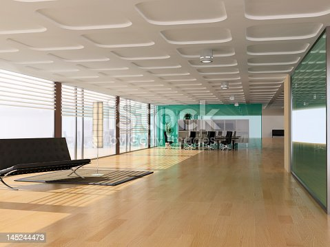 istock A large vacant office space with timber flooring 145244473