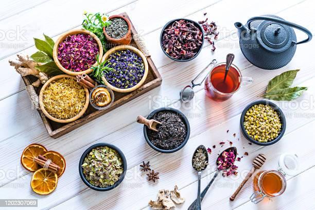 Large variety of multi colored dried tea leaves and flowers shot on picture id1202307069?b=1&k=6&m=1202307069&s=612x612&h=jqecku9t9244ftvnhbjmfe 1wkzwsnkvkcccatzskii=