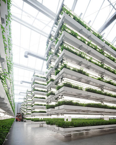 Digital image of a large vertical farm contained inside a greenhouse
