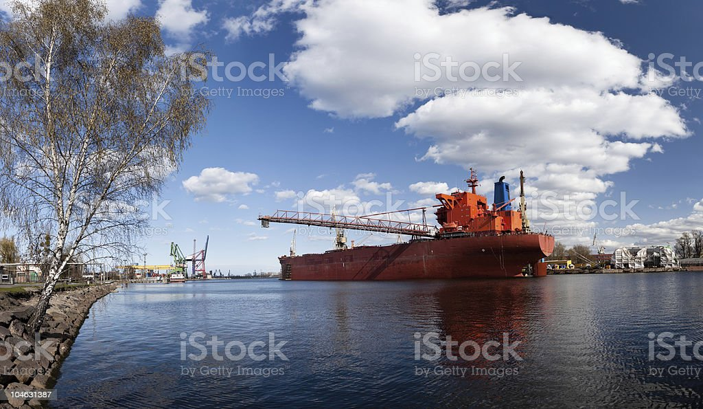 Large vessel in shipyard royalty-free stock photo