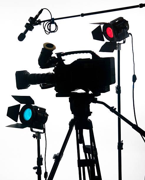 Large video camera on white stock photo