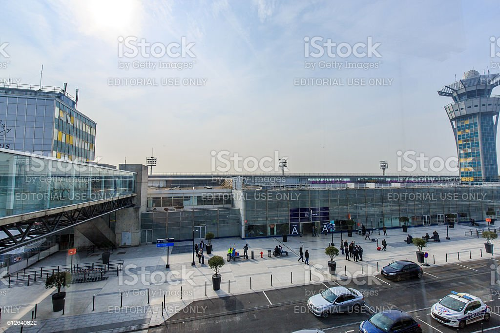 Large view of entrance to the airport of Orly stock photo