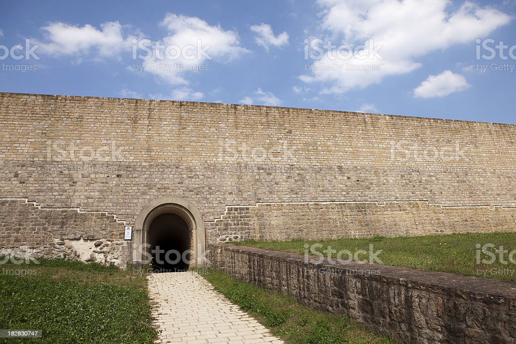 Large wall with an opening in Luxembourg stock photo