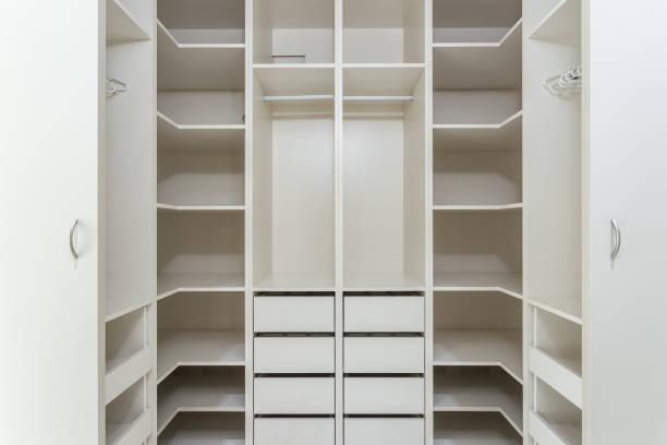 Large wardrobe locker for clothes. stock photo