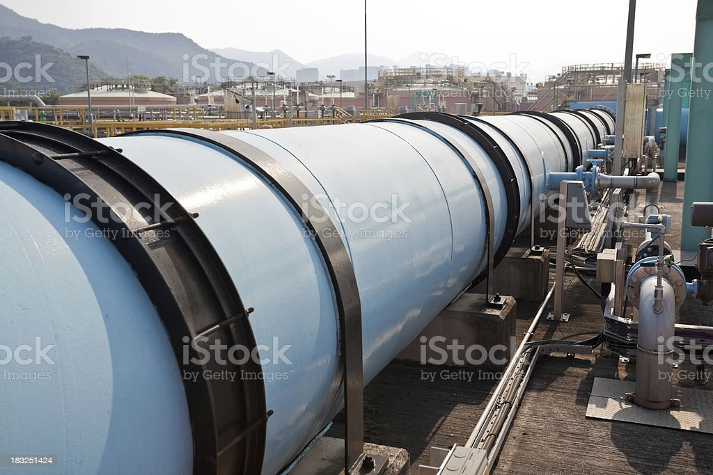 Large water pipe in a sewage treatment plant royalty-free stock photo