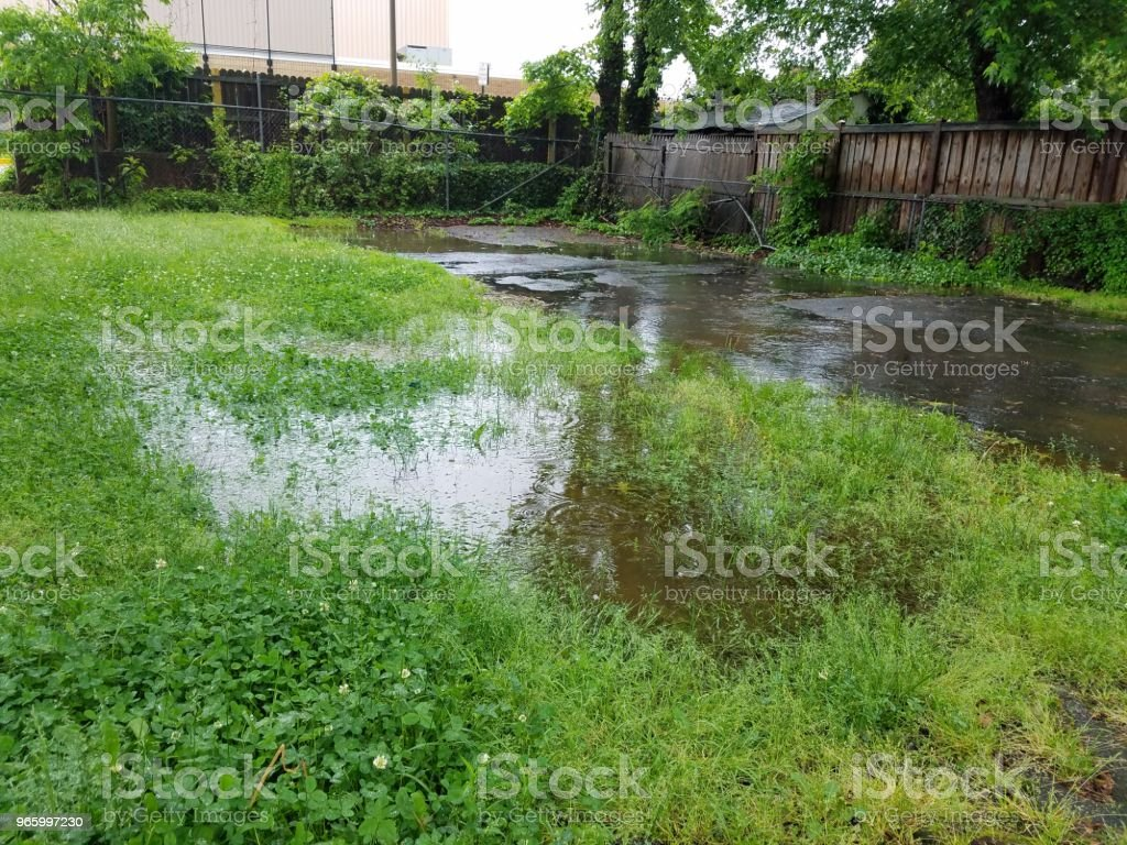 large water puddle from rain in driveway and grass stock photo