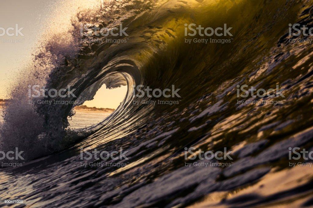 large wave breaking stock photo