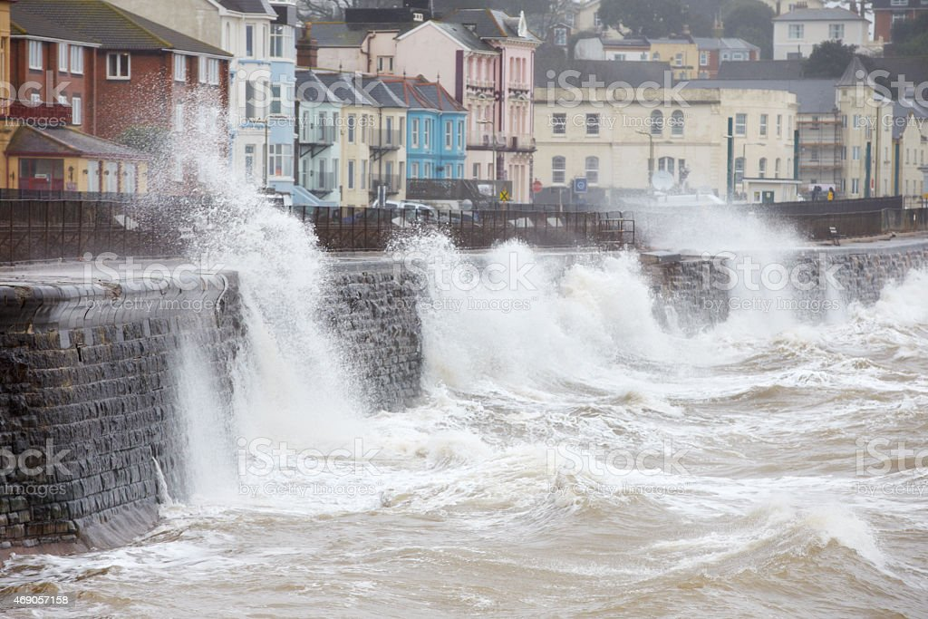 Large waves breaking against the sea wall at Dawlish, Devon stock photo
