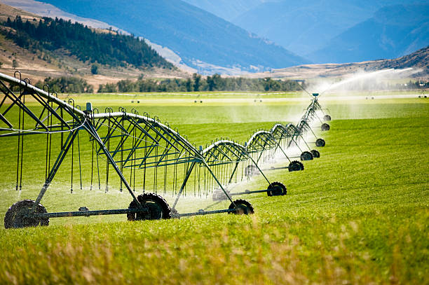 A large wheeled irrigation system in a field A large, wheeled irrigation system waters a rancher's crops along a western landscape.   irrigation equipment stock pictures, royalty-free photos & images