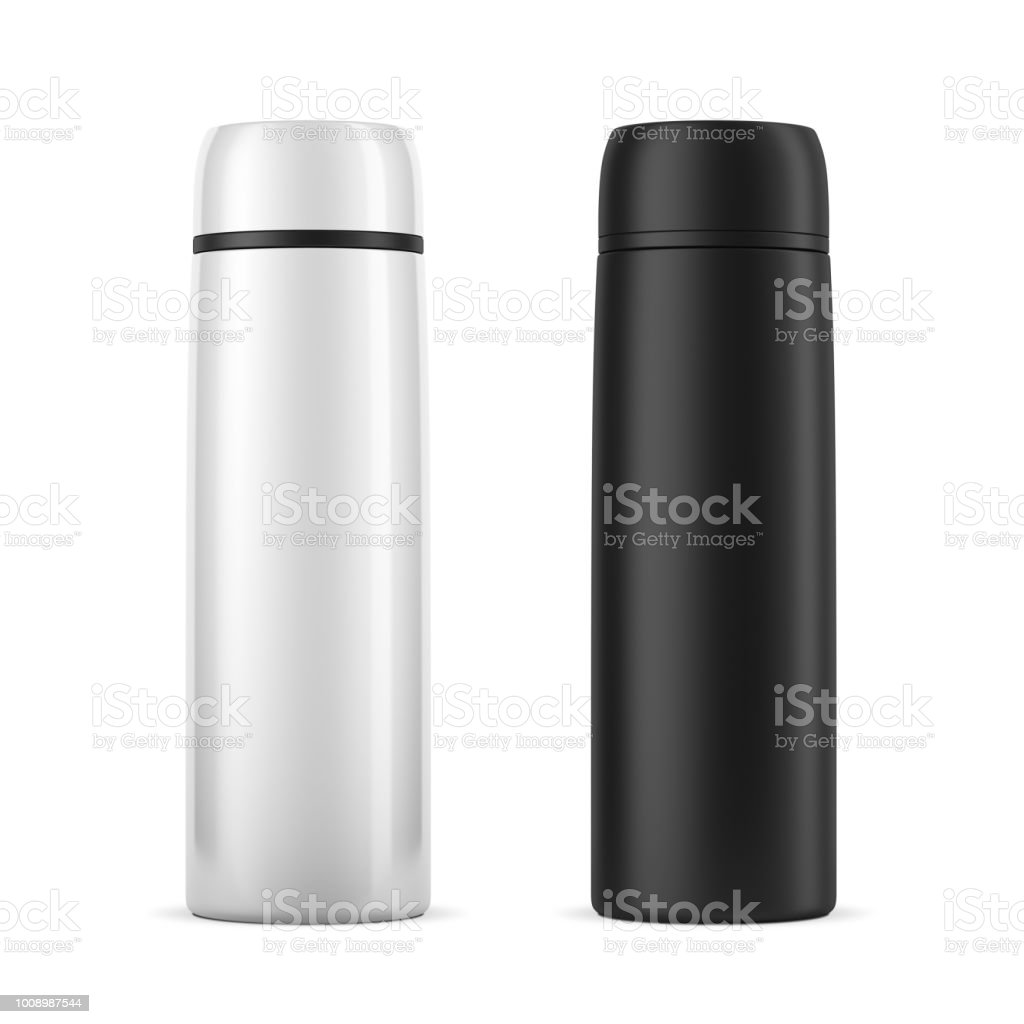 Large White And Black Travel Thermos Bottle Mockup Isolated On White Stock  Photo - Download Image Now