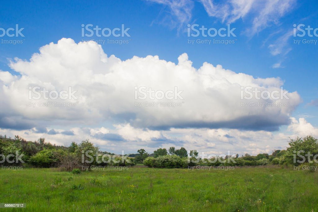 A large white cloud hanging over the steppe royalty-free stock photo