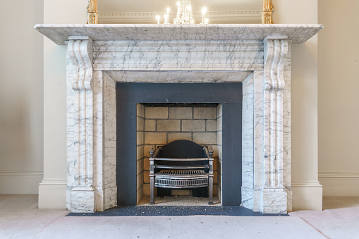 Large White Decorative Fireplace Stock Photo Download Image Now Istock