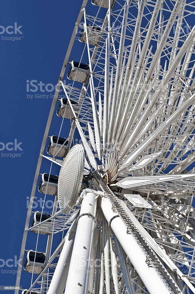 Large White Ferris Wheel with Enclosed Cars royalty-free stock photo