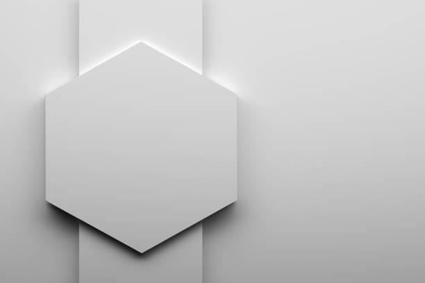 Large white hexagon stock photo