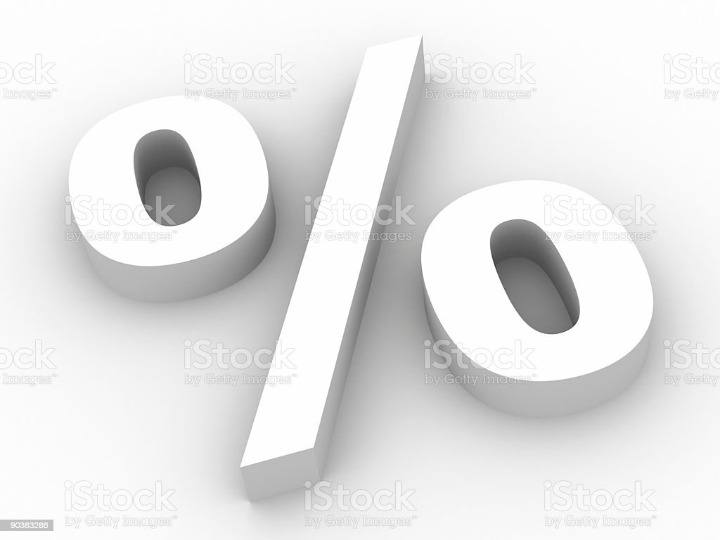 A large, white percent poster with a subtle shadow royalty-free stock photo