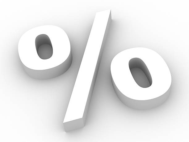 A large, white percent poster with a subtle shadow stock photo
