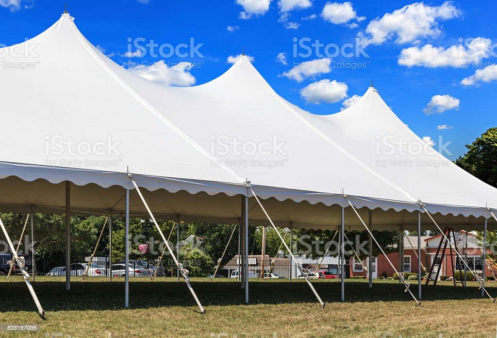 Large white tent ready for an event stock photo