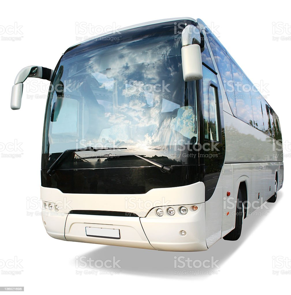 Large white travel bus on white background stock photo