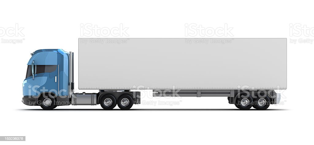Large white truck with blue cabin stock photo