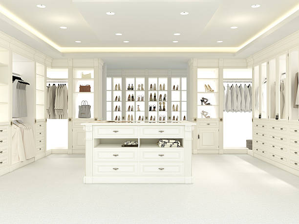 large white wardrobe. 3d rendering - closet stock photos and pictures