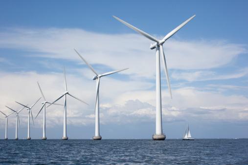 Off shore windmills at Middelgrunden just outside Copenhagen, Denmark