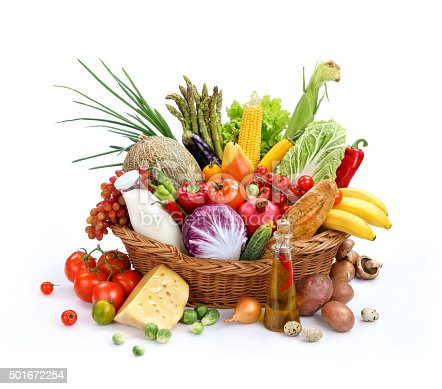 istock Large wicker basket with organic products 501672254