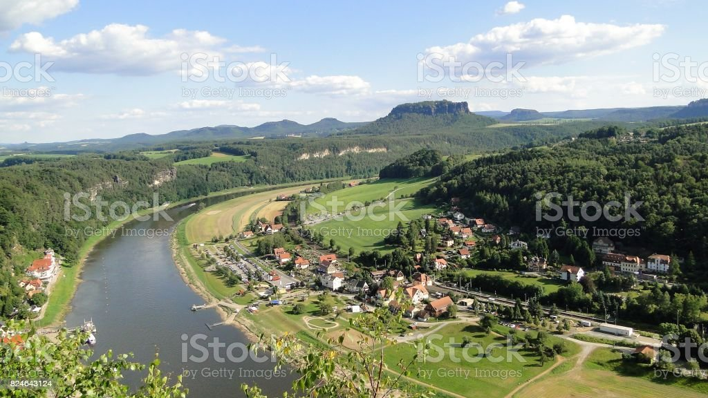 Large wide river in the background of a mountain stock photo