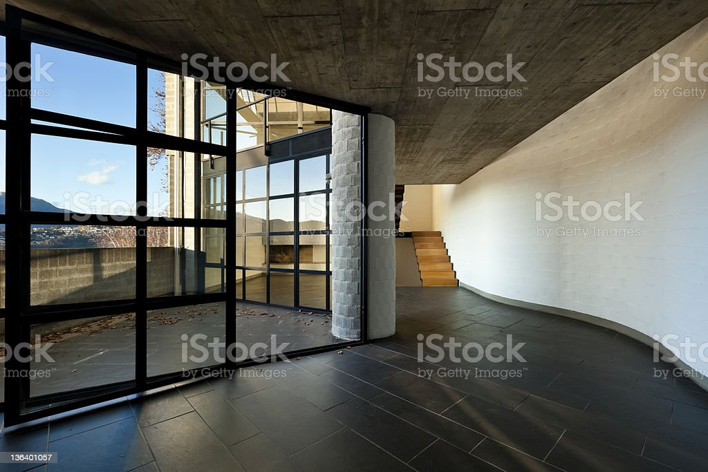 large window in the evening, interior royalty-free stock photo