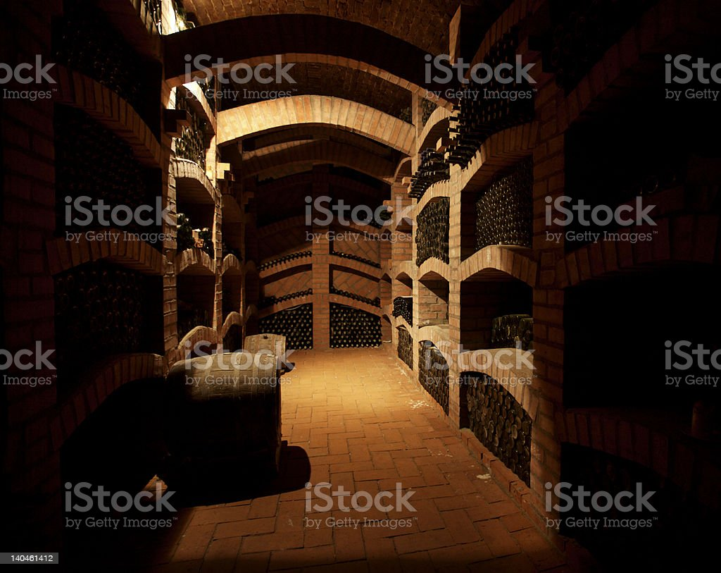 Large wine cellar with barrels royalty-free stock photo