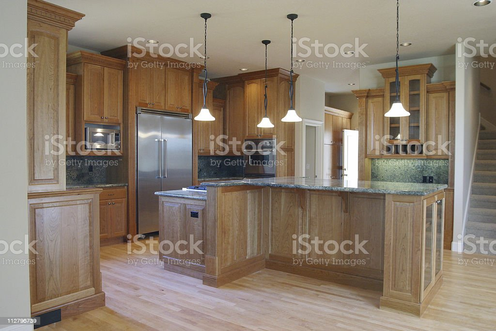Large Wood Paneled Spacious Kitchen  with appliances royalty-free stock photo
