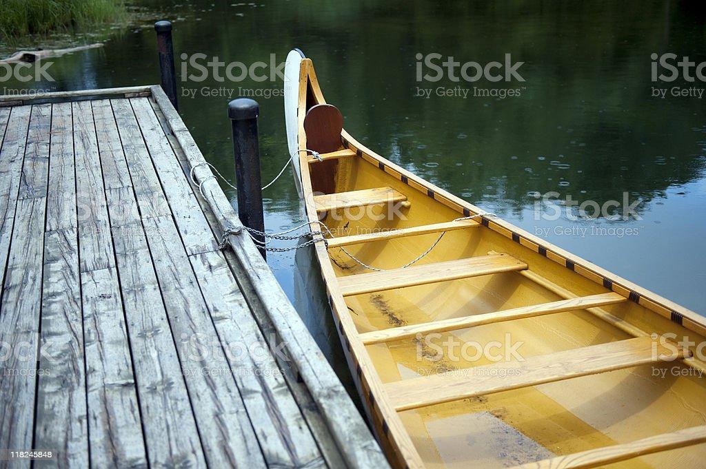 Large Wooden Canoe royalty-free stock photo