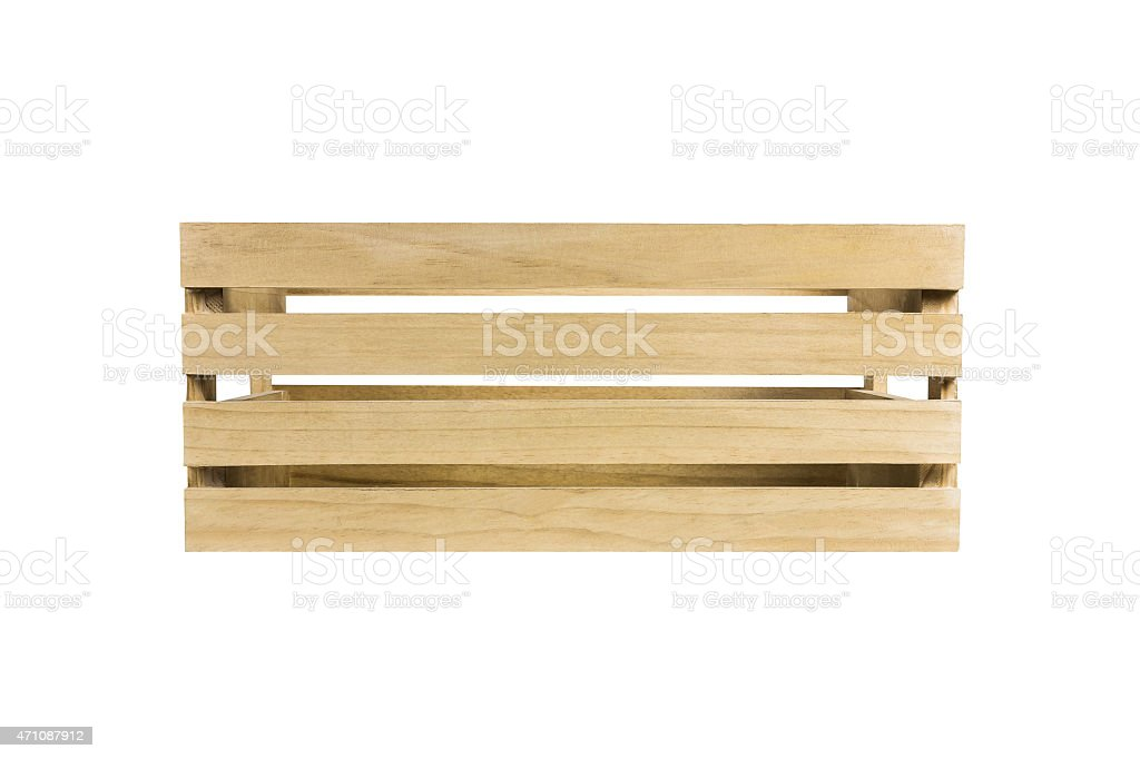 large wooden crate on white background front view royaltyfree stock photo